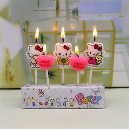 Wholesale Tapered Candles Canada - 5Pcs Birthday Cake Candles hello kitty Lovely Cartoon Birthday Cake Candles Assorted Colored Flames Safe Taper party Decorations