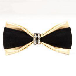 panzada arco lazo de los hombres de lujo de la PU pajarita de diamantes partido boda de la mariposa del regalo del negocio de los hombres de las mujeres de la cena corbata azul rojo en venta