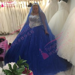Vestidos Taille Bleue Pas Cher-Royal Blue Plus Size Robes de mariée Crystal Bling Ball Gowns Robes de mariée en tulle vestidos de novia Z1087