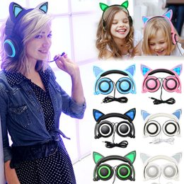Discount cat ear headband cosplay - Amazing Cat Ear Headphones with LED Light Foldable Glowing Flashing Cosplay Cat ear Headset Luminous Gaming Earphone for