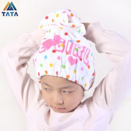 Discount eco friendly shower - Wholesale- TATA Free Shipping Cotton Bath Towel Hair Dry Hat Shower Cap Strong Absorbing Drying Lady Bath Caps For Adult
