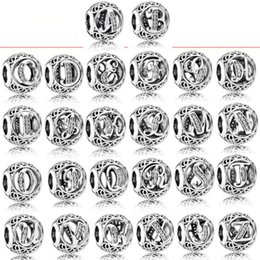 Wholesale 925 Sterling Silver Vintage Clear Letter Bead Charms Fit Original Pandora Women Charm Bracelets Silver Jewelry on Sale