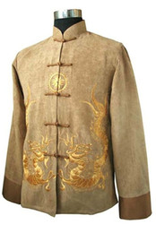 Chinese Kung Fu Jackets Canada - Wholesale- Style Gold Spring Chinese Men's Fleece Kung-fu Jacket Coat S M L XL XXL XXXL M1148