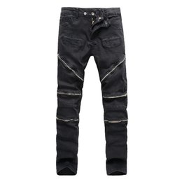 $enCountryForm.capitalKeyWord NZ - Wholesale-New 2016 High Street Tide Brand Rider Denim Men pants Bardian zipper Solid Slim High Quqlity cotton Male Biker Jeans