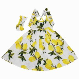 Barato Limão Vestido Backless-2017 Summer New Girls Dresses estilo boêmio Backless Lemon Floral Cotton Holiday Sundress + Headband Crianças Vestuário 1-7Y 7124
