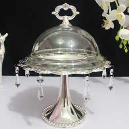 high tea decorations NZ - 1pcs Silver plated fashion cake pallet dessert decoration West fruit afternoon tea high foot plate 3051
