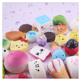 Cartoon Holder Cakes NZ - New Kawaii Squishy Phone Straps Squishies Foods Charms KeyChains Strap Lovely Soft Bread Cake Ice Cream Squishies Toys Free Shipping