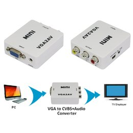 Discount s video rca adapters - 1pcs Mini Composite Video AV S-Video RCA to PC Laptop VGA TV Converter Adapter Box Connector New Promotion