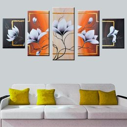 Shop framed canvas white flower art painting uk framed canvas 5 pcs set no framed 100 hand painted white flower oil paintings on the wall handpainted abstract floral wall art pictures mightylinksfo