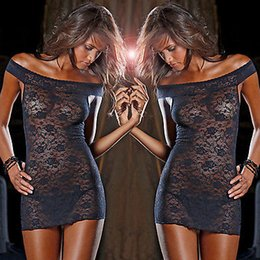 Vêtements De Nuit Taille X Pas Cher-Wholesale- Women Sexy Underwear Babydoll Sleepwear Lace Dress Shirts Plus Size Black XXL