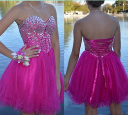 Barato Linha Sweetheart Organza Curto Mini-Hot Sale Homecoming Vestidos Sweetheart Crystal Beaded Short Prom Vestidos Custom Made Cheap Lace-Up Party Dress