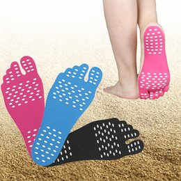 pad waterproof 2019 - Wholesale Beach Invisible Anti Slip Insoles pure color Nakefit Thermal Insulation Waterproof Soles Stick On Feet Pads So