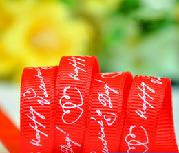 holidays packs Australia - 100yards a roll 9mm and 25mm width Happy Valentine's Day red thread ribbon Decoration Holiday party supply DIY accessories Gift Wrap packing