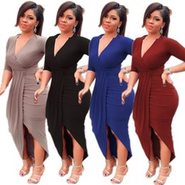 Robes De Soirée V Neck Midi Pas Cher-Womens à manches longues Casual Clubwear Irregular V-Neck Split Long Dress Evening Cocktail Party Dresses