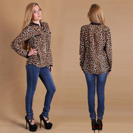 Discount polka dot apparel - Hot Sale Fashion Blouses Shirts Women Wild Leopard print lady sexy Long-sleeve top Tees shirt loose plus size V neck leo
