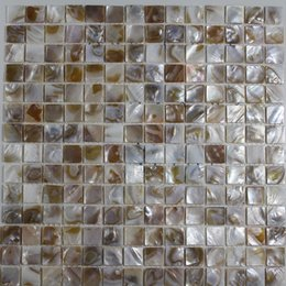 20 tablets UK - [FREE SHIPPING] 20x20mm natural color mother of pearl shell mosaic , for interior & furniture decoration used #MS050
