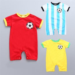 christmas onesie romper 2019 - Baby football printing onesie cute infants striped football romper 3 colors for 0-1T cheap christmas onesie romper