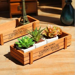 small wooden pots 2019 - Small Rectangle Wooden Pot Wood Succulent Pots Flower Planter Tray Balcony Meat Plant Garden Supplies ZA4824 cheap small