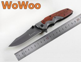 Barato Casaco De Ponto-WOWOO Browning DA97 Flipper Fast Open Grey Titanium Coated Clip Point 5CR15 Lâmina de madeira Handle Folding EDC Camping Hunting Knives Gift Knife
