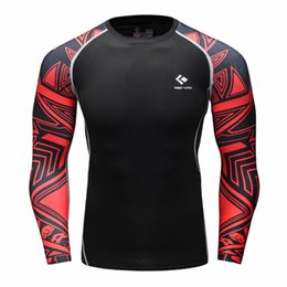 Chinese  Wholesale- Muscle Men Compression Tight Skin Shirt Long Sleeves 3D Prints Rashguard Fitness Base Layer Weight Lifting Male Tops Wear manufacturers