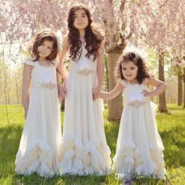 Country A Line Flower Girls Dresses With Crystal Sash Tiered Wedding Party Gowns For Little Birthday 2017 Fall