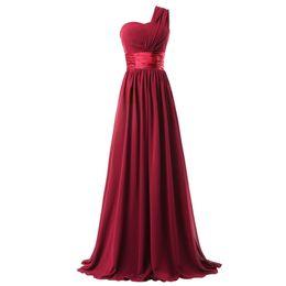 64a3f62d3ba1 One Shoulder Long Chiffon Bridesmaid Dress Burgundy Purple Black New  Elegant Women Party Dress Lace Up