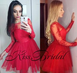cheap mini tutus Canada - Charming Red Lace Homecoming Dresses Long Sleeves Crew Neck Short Tutu Skirt Cheap Party Gowns dress gown