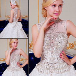 Sheer Crystals Gowns NZ - 2019 Luxury Crystal Ball Gown Wedding Dresses Lace Sheer High Neck Tulle Chapel Train Vintage Backless Beaded Bridal Gowns With Bow Real