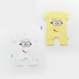 Small cartoon couple online shopping - 13270 Summer couples baby conjoined cartoon small yellow people short sleeved jeans children s cotton baby climbing clothes