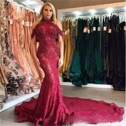 Robe De Soirée Sirène Rouge Foncé Pas Cher-Dark Red Off The Shoulder Mermaid Robes de bal Long Longs cou de lèvres Mermaid Evening Robes Back Zipper Custom Made Formal Party Dress Women