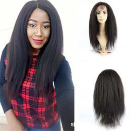brazilian hair stocking NZ - Fashion Stock Human Hair Wigs Kinky Straight Unprocessed Virgin Brazilian Glueless Lace Front Wig Free Shipping