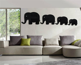 Discount Elephant Decor For Living Room   Creative DIY Children Room Mirror  Paste Wall Sticker Elephant