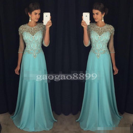 Discount chic short prom dresses - Chic Blue Prom Evening Dresses 2017 A-Line Sheer Neck Rhinestones Major Beaded 3 4Long Sleeves Chiffon Formal Party Gown