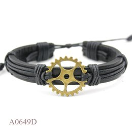 $enCountryForm.capitalKeyWord NZ - Customizable SILVER Tibetan Bronze Plated Gear CHARM Adjustable Leather Wrap Cuff Friendship Bracelets For Woman Man Girls Jewelry