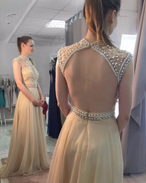long evening peplum dresses back drape 2019 - Champagne Chiffon Pearls Elegant Prom Formal Dresses 2017 Modest High Neck Backless Full length Occasion Evening Pageant