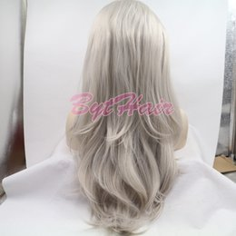 Wig Grey Australia - Bythair Glueless Long Wavy Grey Color Heat Resistant High Temperature Hair Natural Hairline Hair Synthetic Lace Front Wig For Women