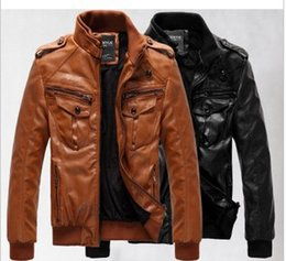 Discount velvet mandarin collar jacket Wholesale- New Men's leather jacket coat thickness and velvet man leather male cultivate one's morality locomo