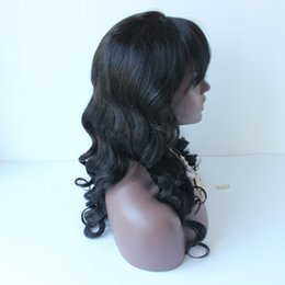 indian body wave lace front wig Canada - Indian Human Hair Lace Front Wig Body Wave Human Hair Wigs With Bangs Glueless Full Lace Human Hair Wigs Fast Shipping
