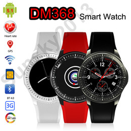 gps wifi smart watch Canada - 3G Android Smart Watch Phone MTK6580 Bluetooth Smartwatch Heart Rate Monitor SIM Wifi GPS Sports Watch Fitness Tracker DM368 WCDMA GPS Watch