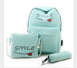 Girls school pencil baG new online shopping - 2017 New Smile Letter School Bags set Boy Girl Student Casual Canvas Backpack Bags Pencil Shoulder Bag