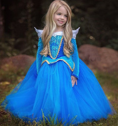 wholesale aurora princess dresses Canada - New Cosplay Halloween Girls Dress Dresses Children Sleeping Beauty Princess Dress Rapunzel Aurora Kids Party Costume Clothing