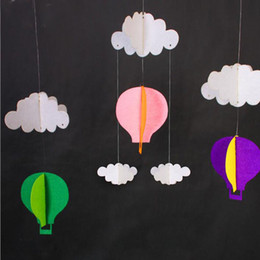 baby shower party props NZ - 3M Hanging Pastel Clouds Hot Air Balloons Bunting Garland Felt Banner DIY Baby Shower Photo Prop Birthday Party Decor ZA2956