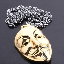 $enCountryForm.capitalKeyWord NZ - Fashion Europe Moive V for Vendetta Mask Necklaces & Pendants Gold Plated Alloy Necklace Jewelry Hot Sale