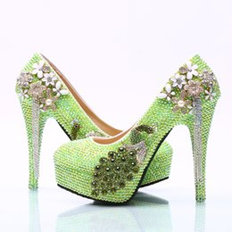 floral bridal shoes Canada - Wholesale GreenTassel Flower Cinderella Shoes Prom Evening High Heels Beading Phoenix Bridal Bridesmaid Hand-made Wedding Shoes