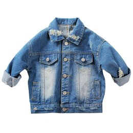 $enCountryForm.capitalKeyWord UK - Baby Boys Girls Hole Denim Jackets Coats New 2017 Fashion Spring Autumn Children Outwear Coat Kids Denim Jacket