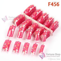 Barato Pontas Do Prego Da Forma Do Coração-Atacado-100pcs Fake Nails Art Dicas Lovely Hearts Pattern Shape Pre Design Sem Glue Super Deals F456