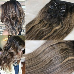 $enCountryForm.capitalKeyWord NZ - 8A 7pcs 120gram Clip In Human Hair Extensions Brunette Balayage Straight Brazilian Remy Human Hair Weave Ombre Dark Brown Highlights