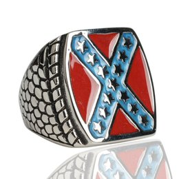 Men Size 15 Rings Australia - Vintage Style stainless steel ring with X cross American flag pattern sports ring for men size 7-15#