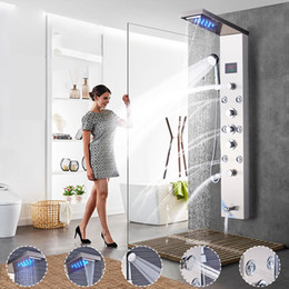 bathroom electric shower Canada - Shower Panels LED Rainfall Waterfall Shower Panel Massage Jets Temperature Screen Three Handles Bathroom Shower