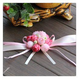 Hand Flowers Bride Bridesmaids Wrist Canada - Hot New 2016 Wedding Bouquets Bridesmaid Bride Wedding Supplies Wrist Corsage Party Prom Ribbon Hand Flower Decor Wedding Party Gift